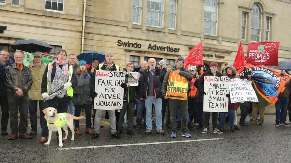 Strike outside the Swindon Advertiser