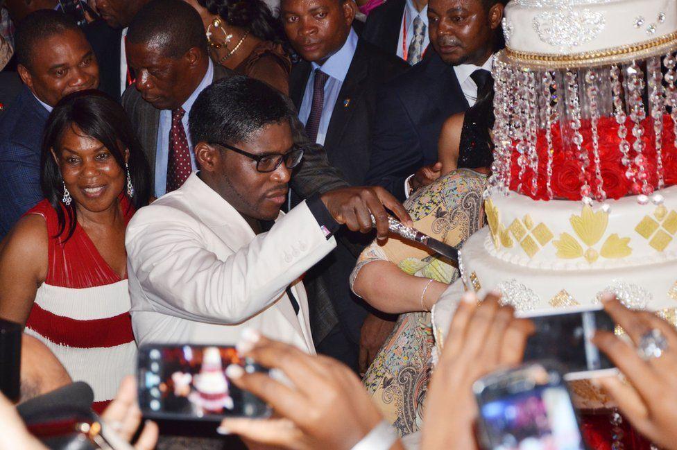 June 2013: Teodorin Obiang cuts his birthday cake