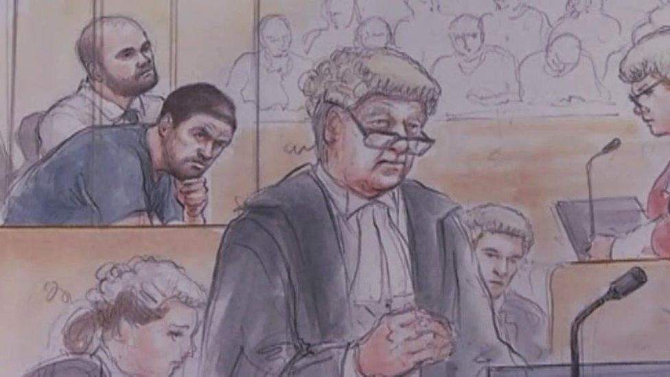 Court artist drawing of trial
