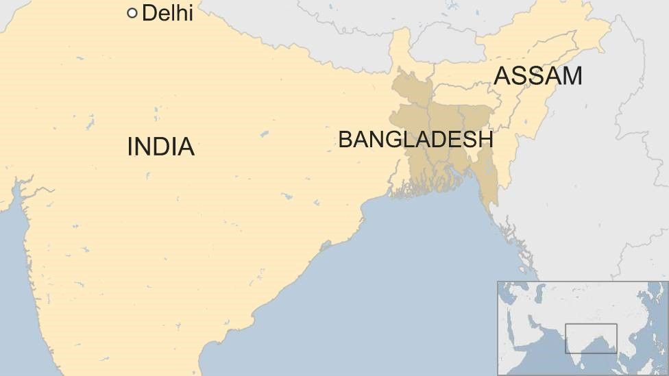 Map of India and Bangladesh with Assam m