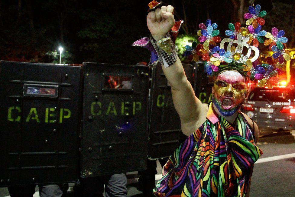 Protester in Sao Paulo