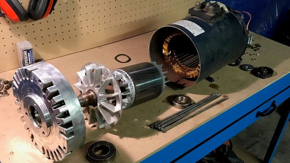 a dismantled electric motor