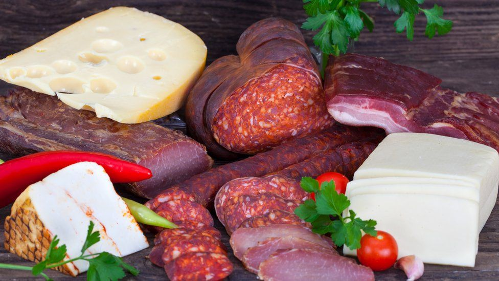Cheese and sausages