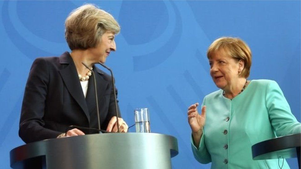 Theresa May ac Angela Merkel