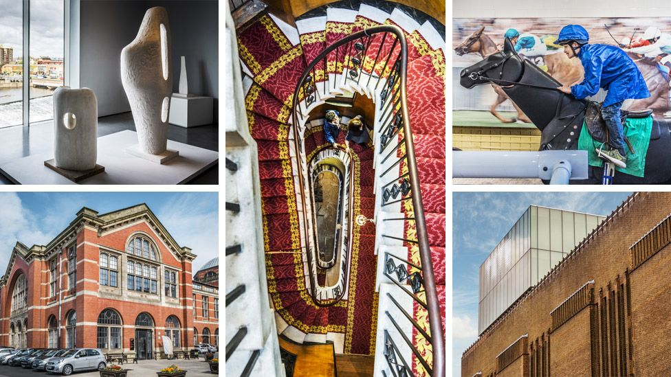 Hepworth Wakefield (top left), Sir John Soane's Museum (centre), National Heritage Centre for Horseracing (top right), Tate Modern (bottom right) and Lapworth Museum of Geology (bottom left)