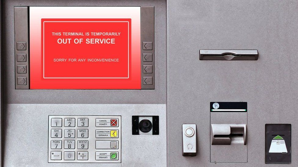 Out of Service message on cash machine