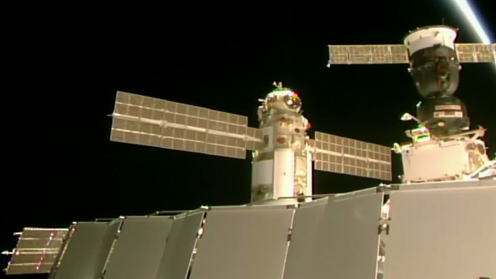 Nauka docked in position