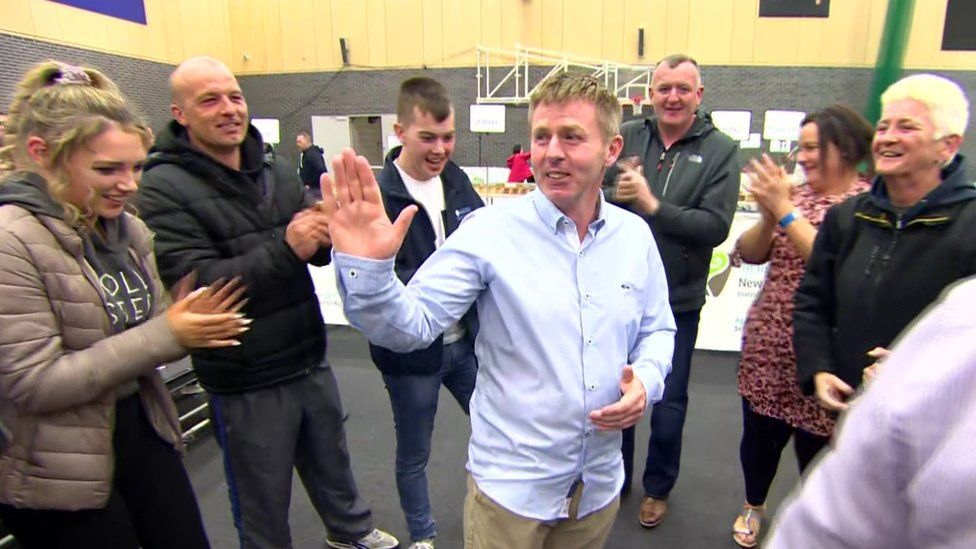 Independent Gavin Malone celebrates an impressive victory in Newry