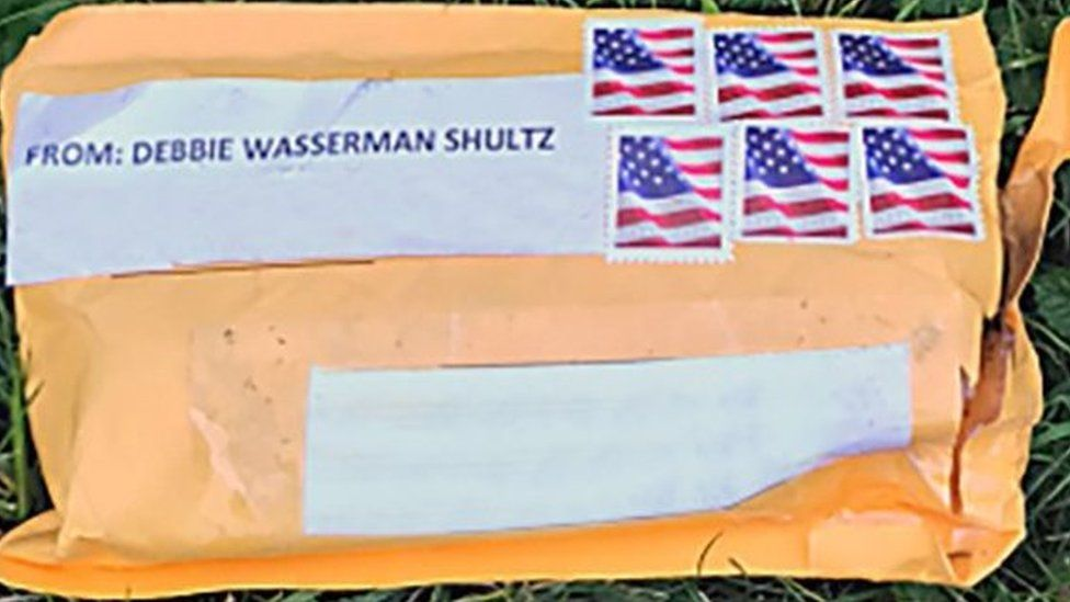 FBI picture showing one of the suspect packages sent to a range of Trump critics, 24 October 2018