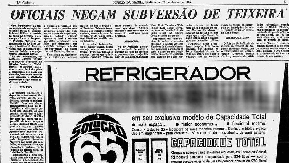 Artigo publicado pelo jornal Correio da Manhã sobre o processo que Teixeira enfrentava em 1965