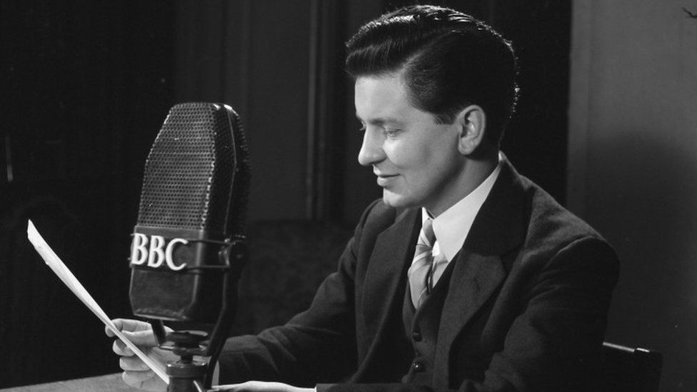 Richard Baker reading the BBC TV News at 7.30pm on 5th July 1954