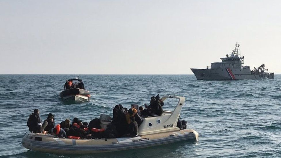 Migrant boats in the English Channel