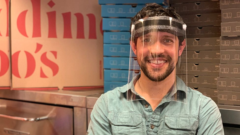 Dimitri Syrkin-Nikolau uses his pizza oven to make face shields for frontline workers