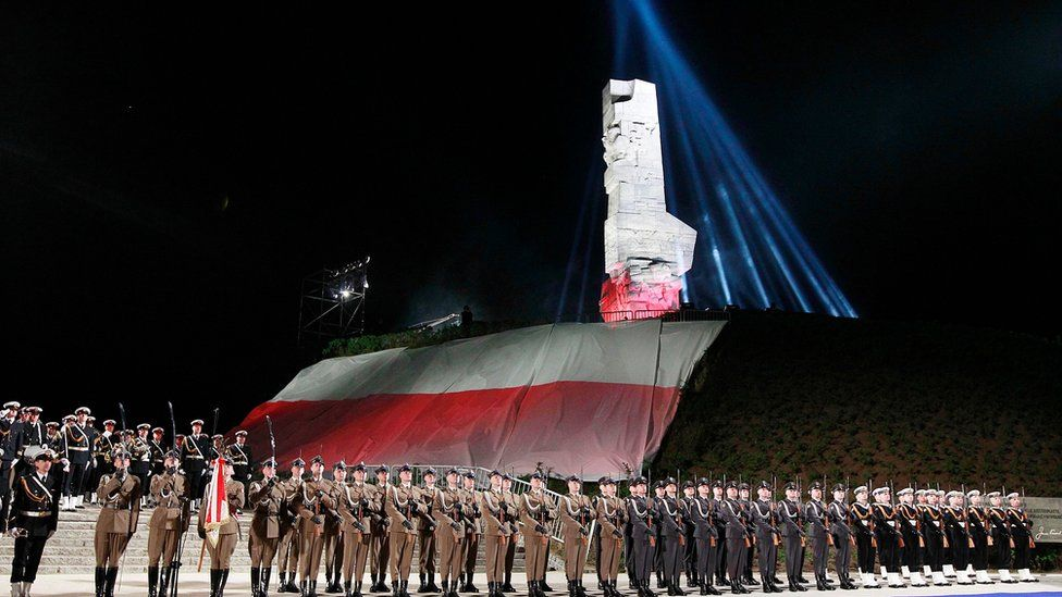 File photo from 8 May 2015, showing Polish Navy troops at Westerplatte memorial