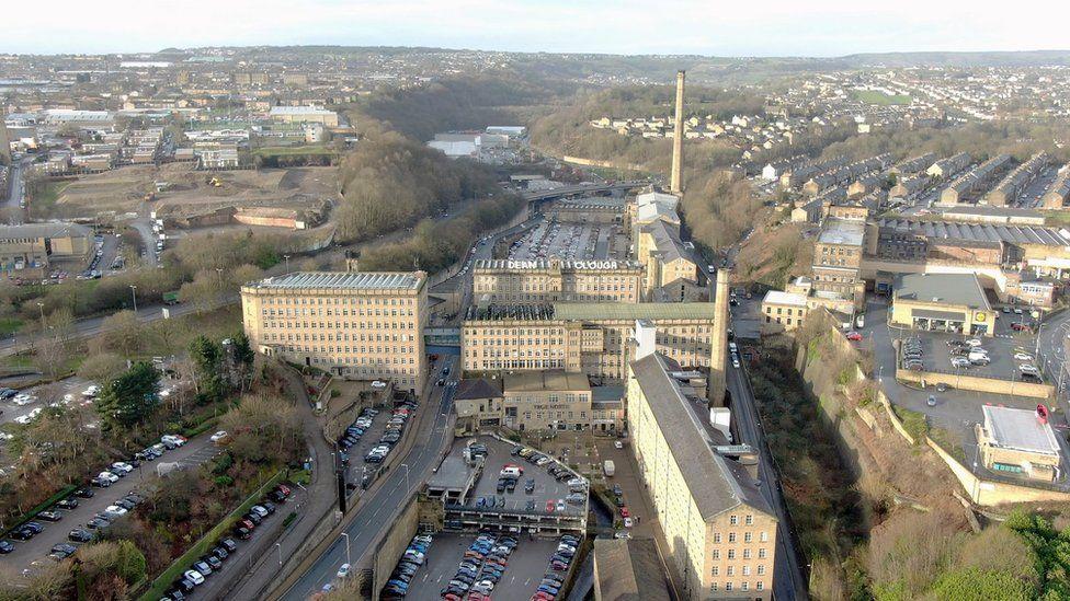 Dean Clough Mill, aerial shot