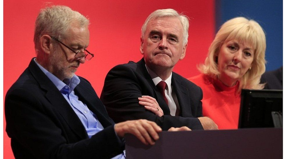 Jennie Formby (right) with Jeremy Corbyn and John McDonnell