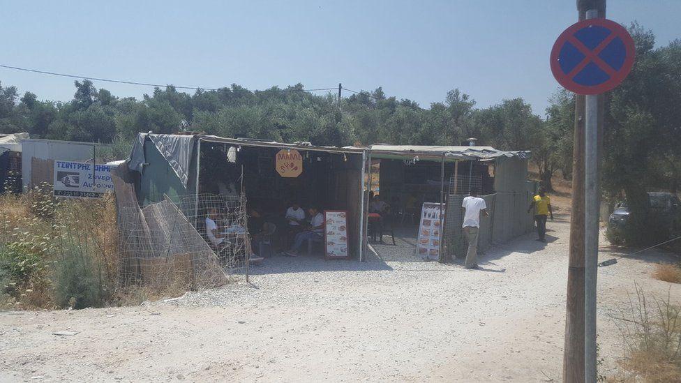 A food stall at Moria refugee camp
