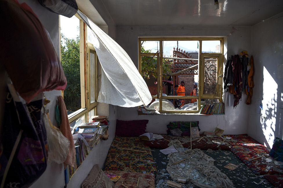 The Kawsar-e Danish tutoring centre after a suicide bomb was detonated