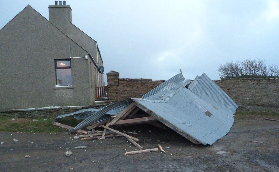 roof blew off a barn in Birsay, Orkney
