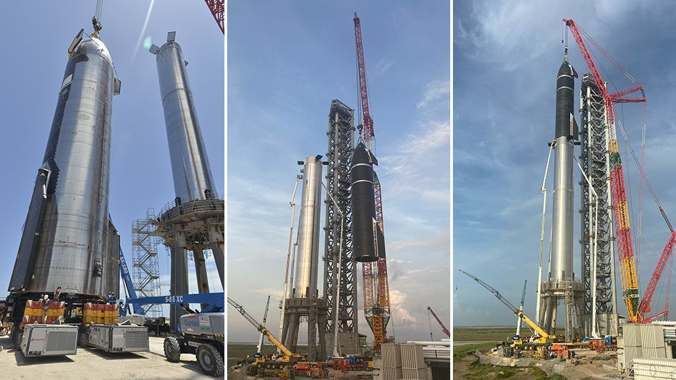 Biggest ever rocket is assembled briefly in Texas - BBC News