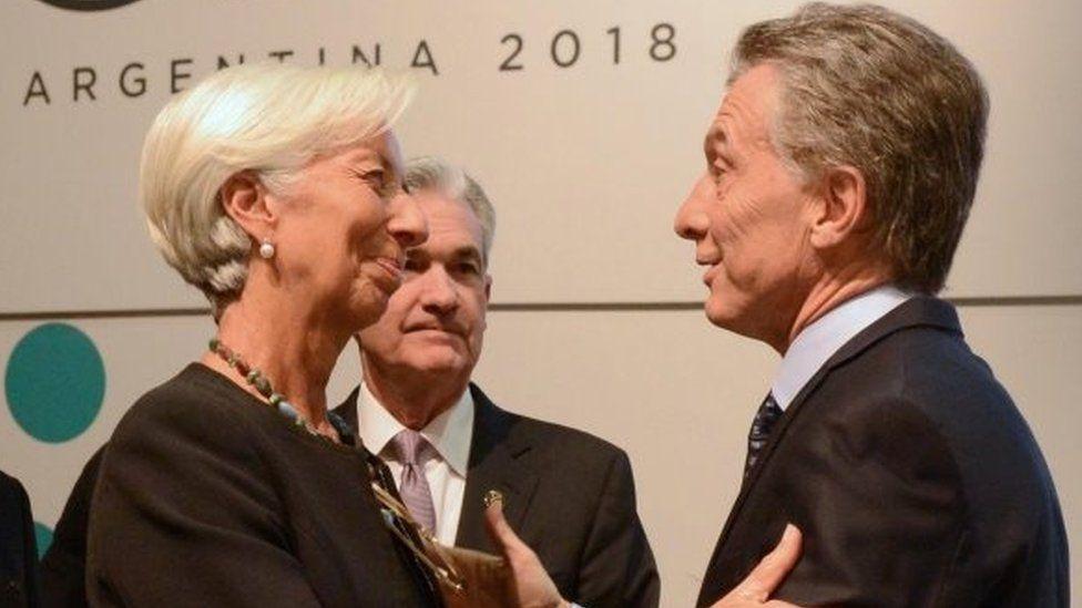 Argentine President Mauricio Macri (right) greet the managing director of the International Monetary Fund, Christine Lagarde