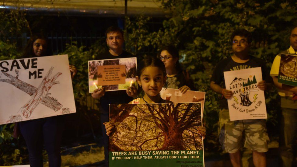 Residents hold placards and light candles to protest against the cutting of more than 16,000 trees