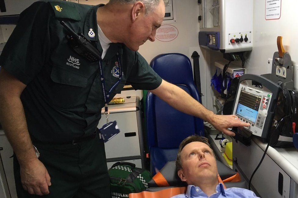 Paramedic Paul Kelly tests out the new equipment