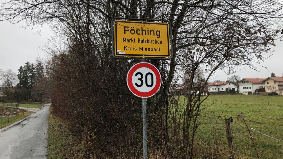 A sign on the road outside Föching in Germany