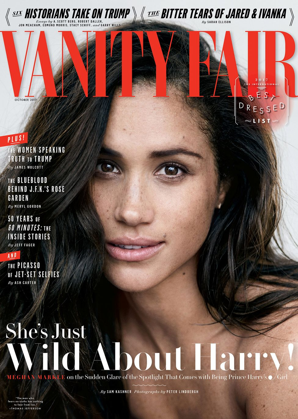 Meghan Markle on the cover of Vanity Fair when she first spoke publicly about her relationship with Prince Harry