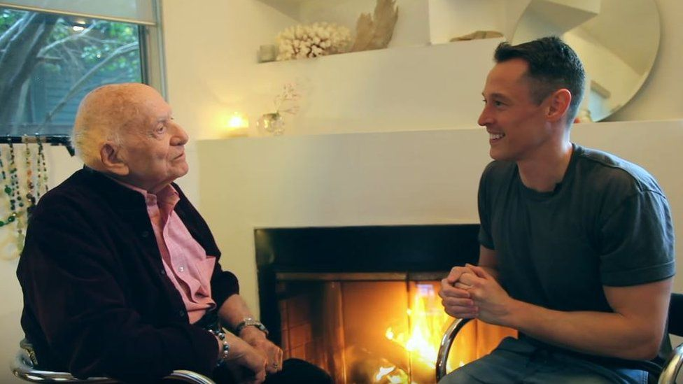 Screengrab of YouTuber Davey Wavey's interview with Roman, who came out aged 95