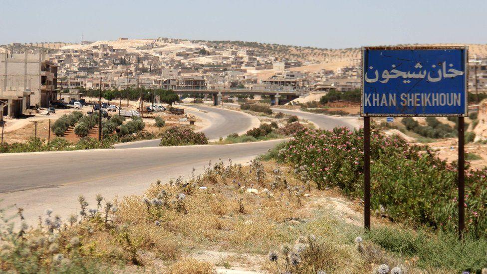 Entrance to Khan Sheikhoun, northern Syria (12 July 2017)