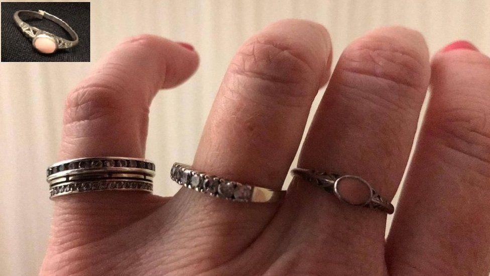 Image of rings on Ness Johnson's fingers