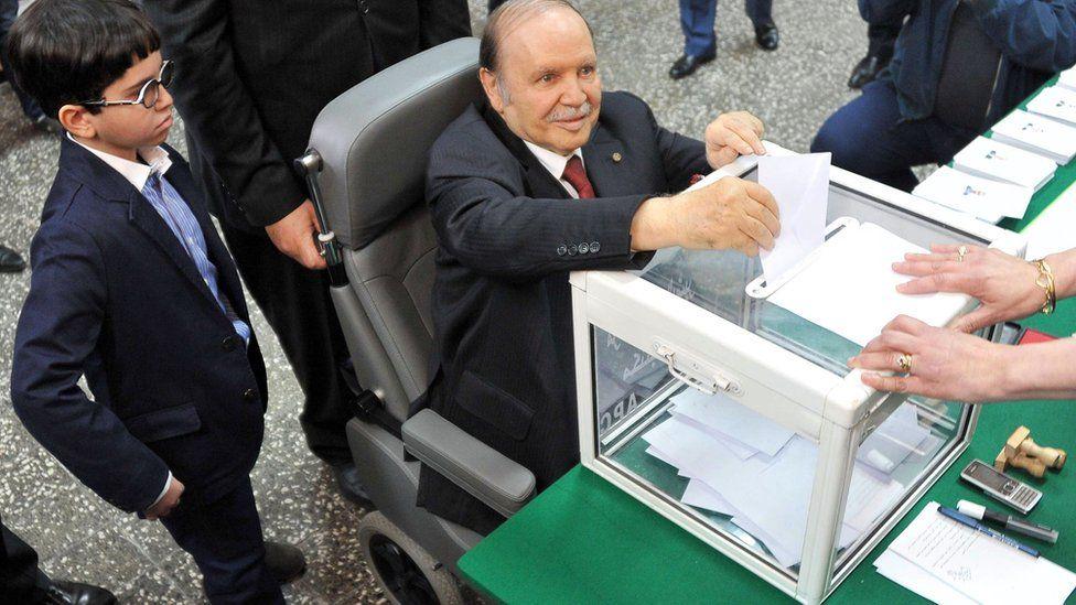 Algeria's President Abdelaziz Bouteflika voting in 2014