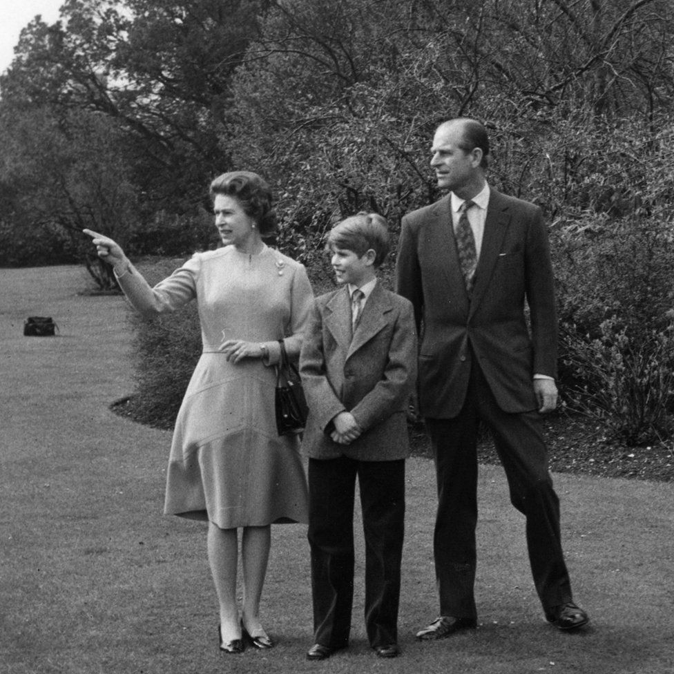 Queen Elizabeth II on her 50th birthday with Prince Philip and their youngest son Prince Edward, 12, in the grounds of Windsor Castle
