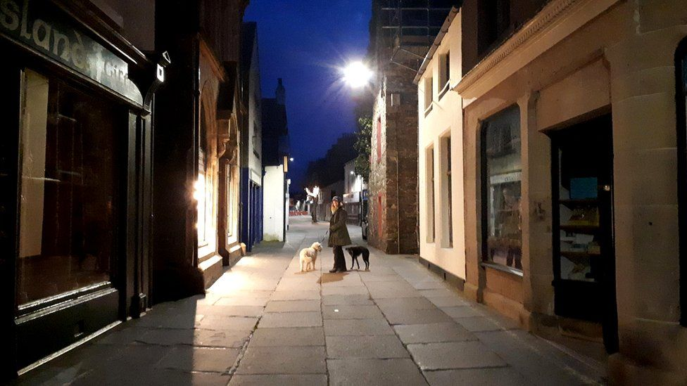 A night time image of the main street