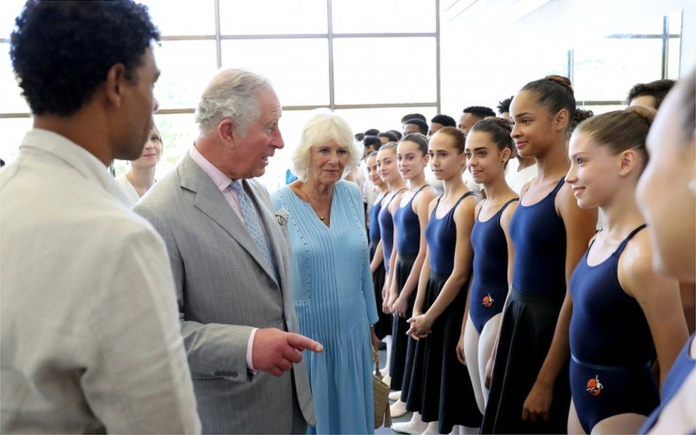 Prince Charles and Camilla greet the young dancers