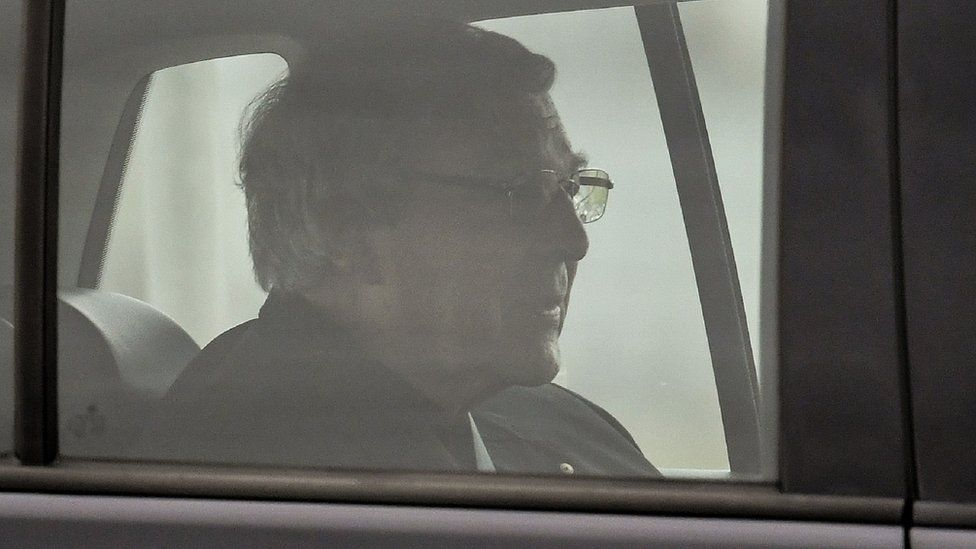Cardinal George Pell in a car leaving Victoria's Barwon Jail after his child abuse convictions were overturned