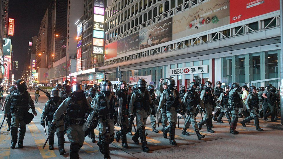 Riot police on a Hong Kong street