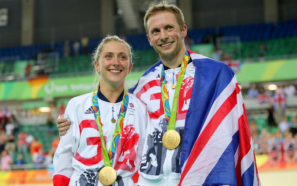 Laura Trott and Jason Kenny with medals