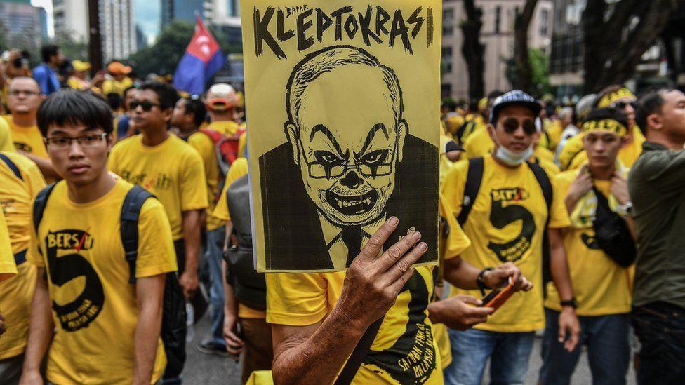 Anti-Razak demonstrators in Malaysia, November 2016