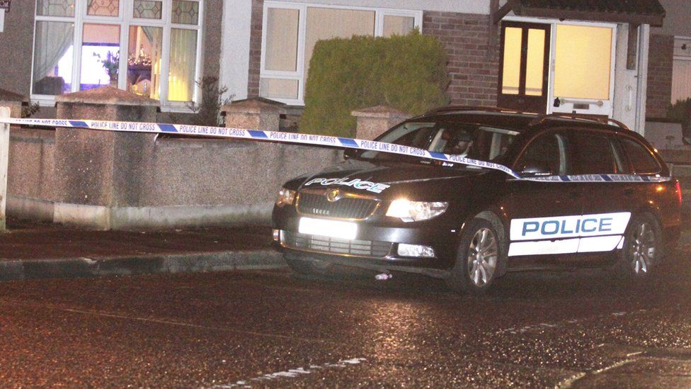 The shooting happened at a house in James Street at about 19:15 GMT on Sunday