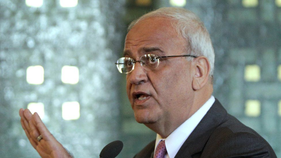 In this Oct. 2, 2011 file photo chief Palestinian negotiator Saeb Erekat, talks during a press conference