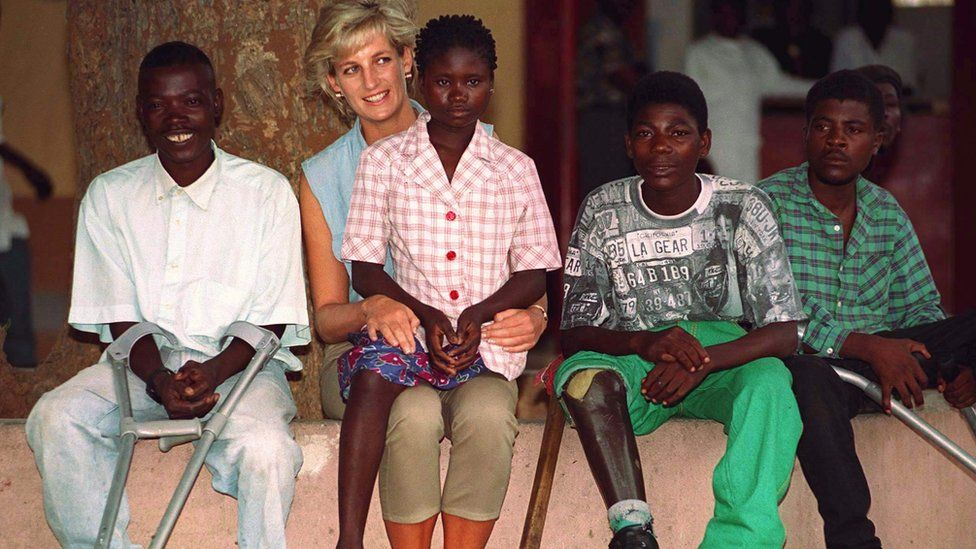 Princess Diana with children in Angola