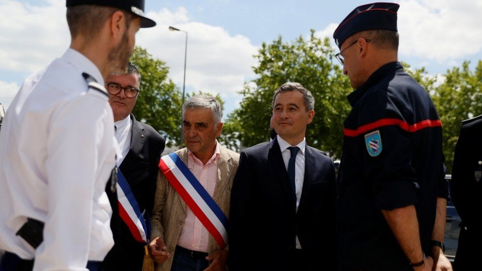 Gérald Darmanin visiting police headquarters outside Paris, Tuesday 7 July