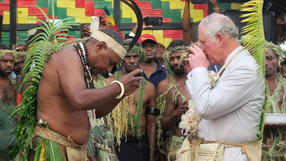 Prince Charles tried kava while dressed in traditional clothing during a visit to the neighbouring island of Vanuatu earlier this year