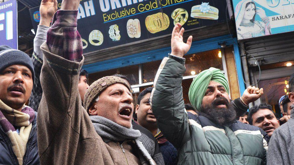 Protests against attacks on Kashmiris in Srinagar on 20 February