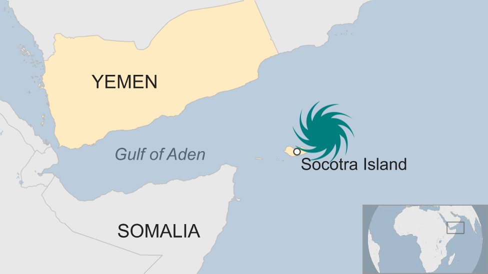 An map of Socotra, off the coast of Yemen and near the horn of Africa and Somalia
