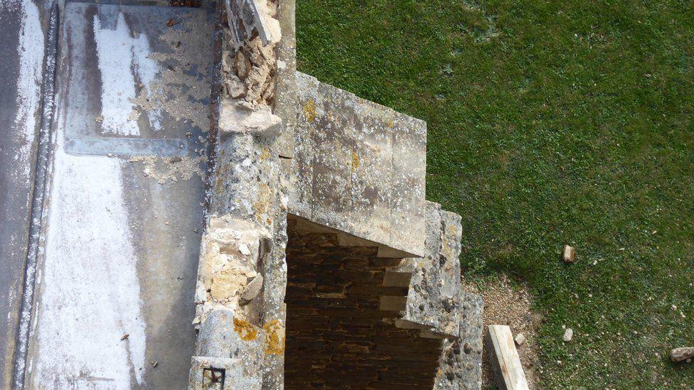 Damaged stonework on a church