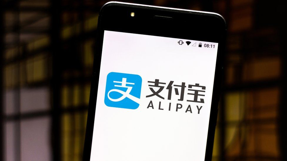 A mobile phone using the Alipay application