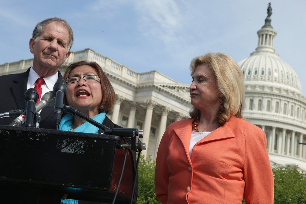 Shandra speaks during a news conference with U.S. House of Representatives Victims' Rights Caucus Chairman Rep. Ted Poe and Rep. Carolyn Maloney